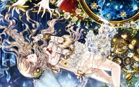 Картинка розы, Девушка, зонт, руки, кристаллы, ножницы, марионетка