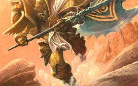 Обои атака, доспехи, воин, ярость, бег, WoW, World of Warcraft