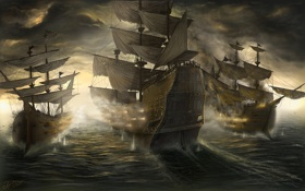 Картинка море, тучи, корабли, битва, сражение, TamplierPainter