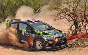 Обои Ford, Пыль, Поворот, Форд, WRC, Rally, Fiesta