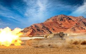 Обои песок, небо, горы, пустыня, выстрел, арт, танки