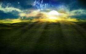 Обои поле, трава, солнце, фото, холмы, пейзажи, лучи света