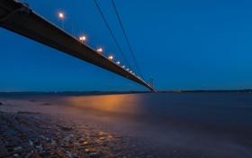 Картинка небо, мост, огни, вечер, залив