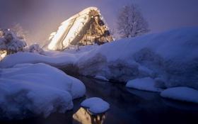 Картинка зима, снег, ночь, огни, дом, ручей, Япония