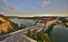 Картинка city, город, USA, Austin, Texas, Pennybacker_bridge, Loop360_bridge