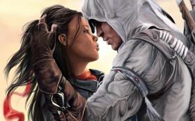 Картинка Aveline, девушка, Assassins creed 3, красная, парень, капюшон, лента