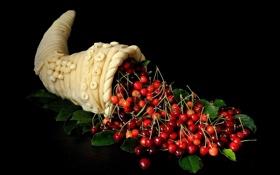 Обои рожок, черешня, cherry, horn