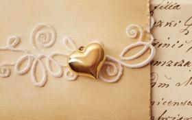 Картинка письмо, любовь, сердце, кулон, сердечко, золотое, открытка