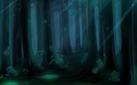 Картинка лес, деревья, мрак, рисунок