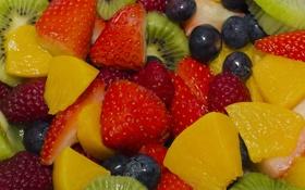 Картинка ягоды, малина, киви, клубника, фрукты, персики, голубика