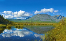 Картинка облака, небо, вода, озеро, Россия, камыши, Сибирь