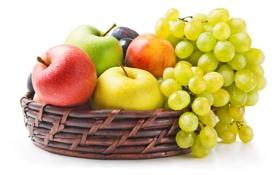 Обои нектарин, фрукты, виноград, яблоки, ягоды