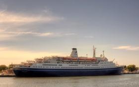 Картинка небо, река, фото, корабль, круизный лайнер, Marco Polo