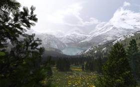 Обои снег, деревья, горы, природа, озеро, долина, арт