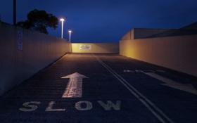 Обои дорога, ночь, город, гараж