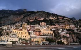 Картинка небо, горы, город, скала, фото, дома, Италия