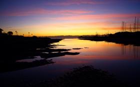 Картинка море, закат, ночь, лодки