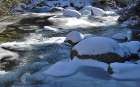 Обои лёд, река, снег, мороз, камни