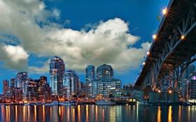 Картинка ночь, мост, город, огни, Гранвилль