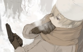 Обои холод, зима, пистолет, ситуация, Hetalia, хеталия