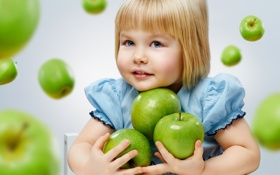Картинка взгляд, яблоки, девочка