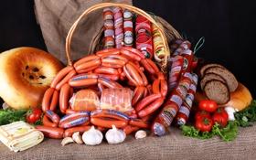 Обои сосиски, еда, мясо, Колбаса