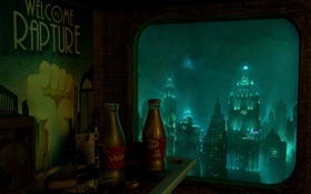 Обои город, комната, rapture, под водой, bioshock 2, восторг, добро пожаловать