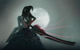 Обои девушка, звезды, луна, гора, двуручный меч