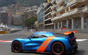 Картинка машина, Concept, Renault, вид сбоку, blue, orange, Alpine