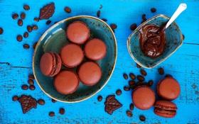 Обои шоколад, макаруны, пирожное, шоколадная паста, сладость, кофейные зерна