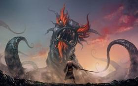 Обои противостояние, меч, Монстр, самурай, пасть, щупальца, клыки