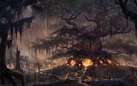 Картинка огни, люди, дерево, арт, реки, гигантское, The Elder Scrolls Online