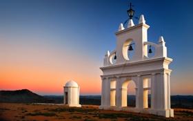Обои побережье, арки, архитектура, колокола