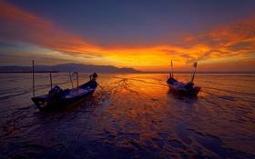Картинка море, небо, облака, закат, горы, город, лодки
