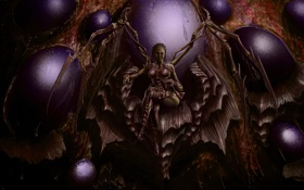 Обои девушка, крылья, арт, трон, королева, StarCraft, Kerrigan