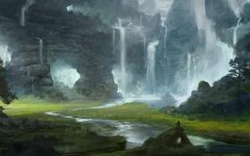 Обои пейзаж, горы, человек, долина, арт, ступеньки, пещера