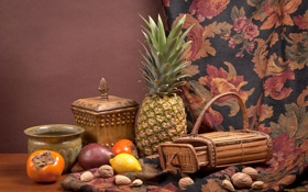 Обои лимон, ткань, ананас, орехи, натюрморт, хурма