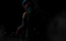 Картинка темный фон, оружие, шлем, star wars, fan art, boba fett