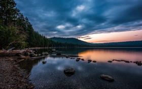 Картинка природа, лес, вечер, отражение, озеро