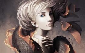 Картинка волосы, фантазия, арт, девушка, рыбы