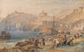 Картинка пейзаж, акварель, Уильям Тёрнер, крепость, море, Корнуолл, люди