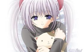 Обои котёнок, аниме, эльф, девочка