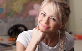 Обои взгляд, фон, красотка, Анна Хилькевич, блондиночка