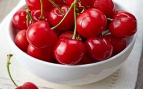Обои вишня, ягоды, миска, fresh, черешня, sweet, cherry