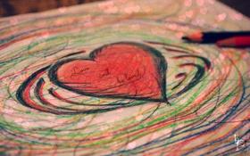 Картинка любовь, надпись, сердце, рисунок, карандаши, валентинка