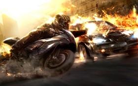 Обои машина, взрыв, огонь, скорость, мотоцикл, гонки, Wheelman