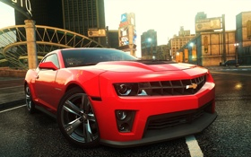 Обои машина, город, фары, ракурс, need for speed most wanted 2, chevrolet camaro