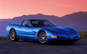 Обои синий, Z06, Corvette, Chevrolet, Шевроле, суперкар, передок