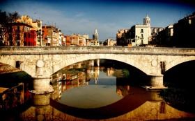 Обои мост, дома, Канал