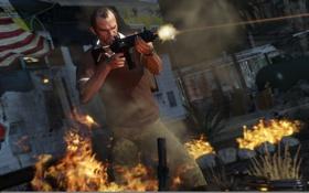 Обои Philips, Shooting, GTA V, Grand Theft Auto V, Weapons, Fire, Trevor